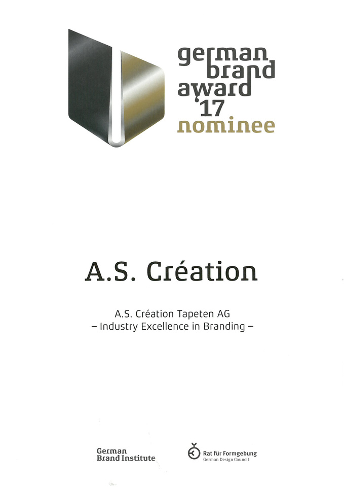 german brand award a s cr ation tapeten ag. Black Bedroom Furniture Sets. Home Design Ideas
