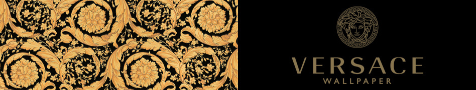 """Versace Wallpaper logo and wallpaper with ornate gold acanthus flowers on black, """"Barocco Flowers"""""""
