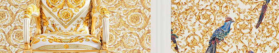"""Interior view of the """"VERSACE IV"""" wallpaper collection by A.S. Création."""