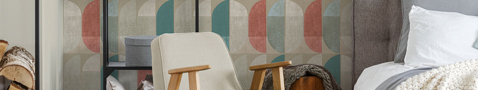 Interior view of the Geo Nordic wallpaper collection by A.S. Création.