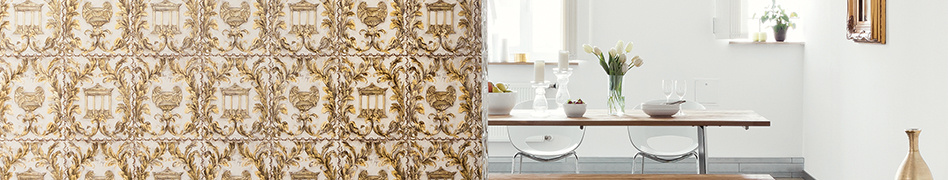 """Room image from the classic wallpaper collection """"KIND OF WHITE"""" by Wolfgang Joop from Architects Paper"""