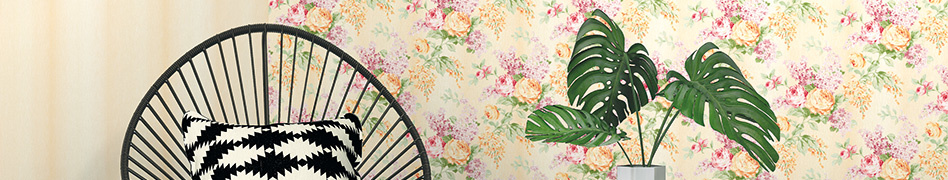 "Interior view of the wallpaper collection ""Paradise Flower"" by A.S. Création"